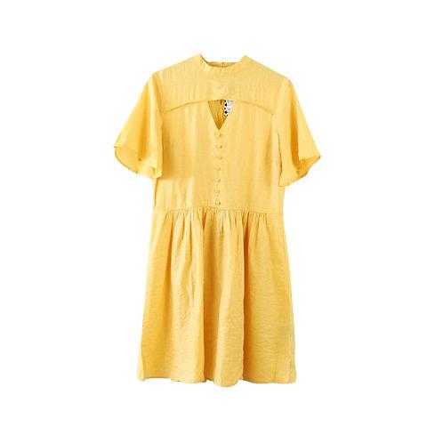 M | PIECES שמלה צהובה עם טיקט
