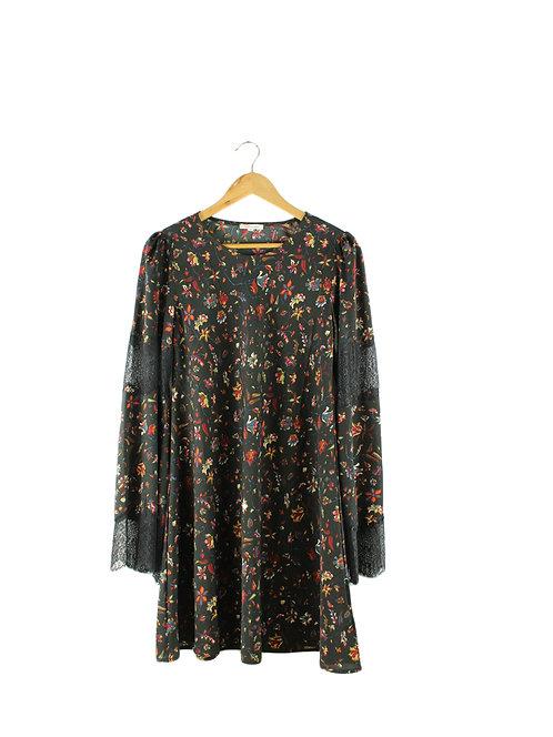 שמלה פרחונית עם תחרה בשרוול-2