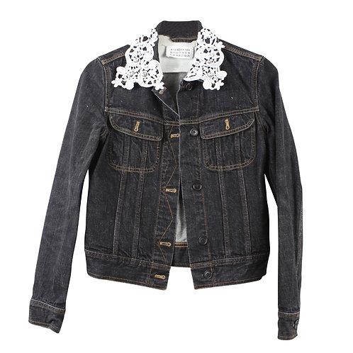 S\M   MM6 ג׳קט ג׳ינס שחור עם רקמה