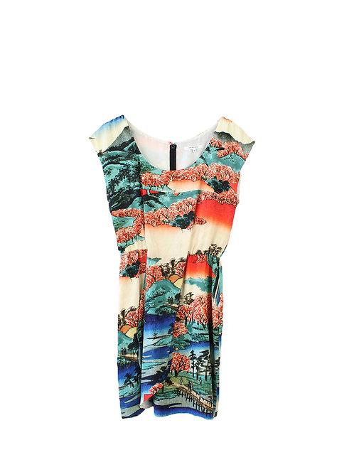 M | CARVEN שמלה הדפס יפני