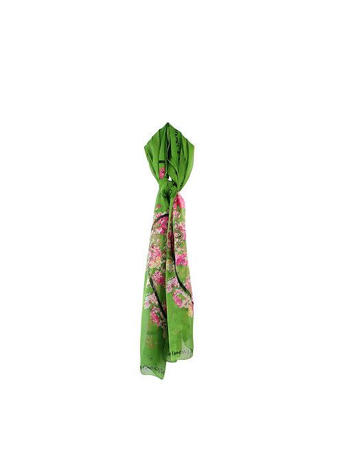KENZO | צעיף משי ירוק פרחוני