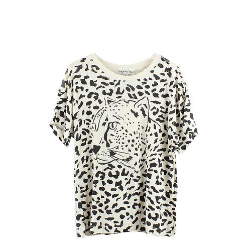L | WILD FOX חולצת הדפס נמר עם טיקט