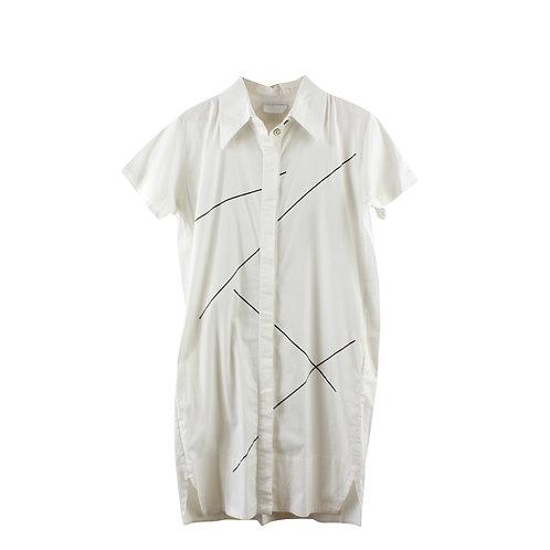 M | LITTLE STREET שמלה לבנה מכופתרת