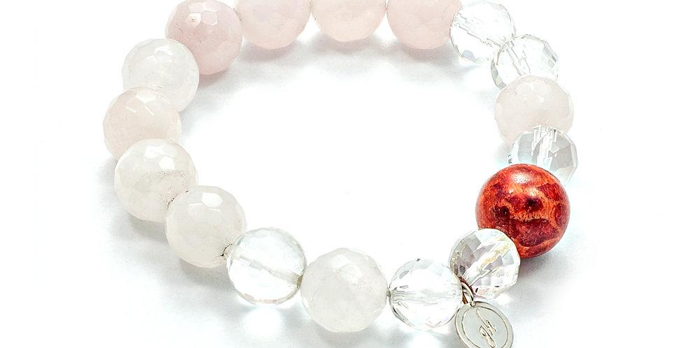 Náramok krištáľ, ruženín a pravý korál so striebrom