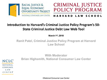 Introduction to Harvard's Criminal Justice Policy Program's 50-State Criminal Justice Debt Law Web Tool