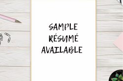 Sample Resume Available