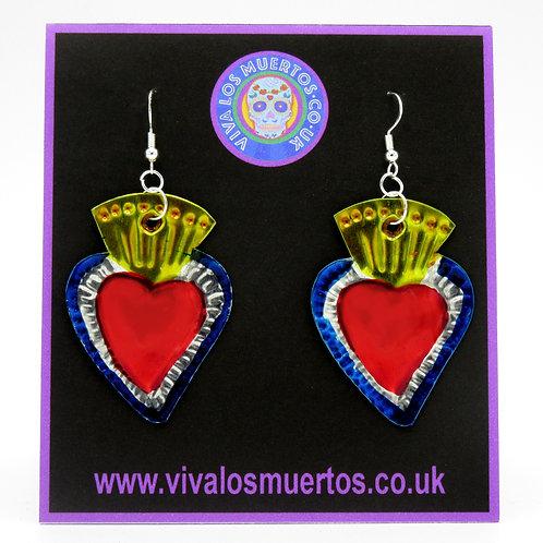 Mexican Tin Sacred Heart Earrings