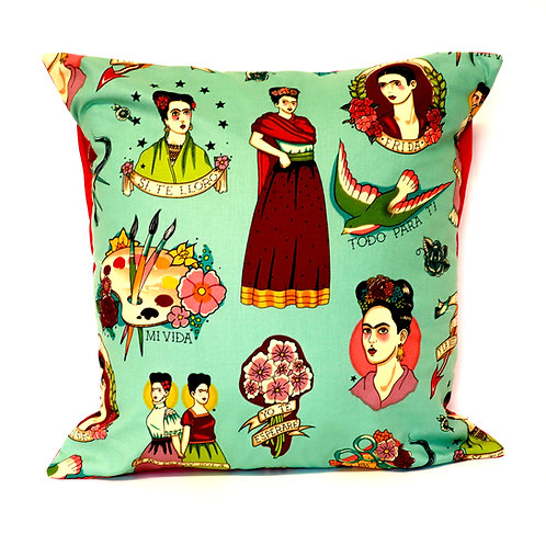 Many Faces of Frida Turquoise Cushion