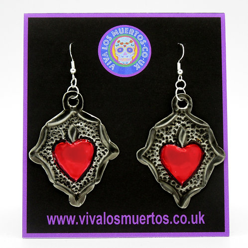 Mexican Tin Sacred Heart Earrings Red/Silver