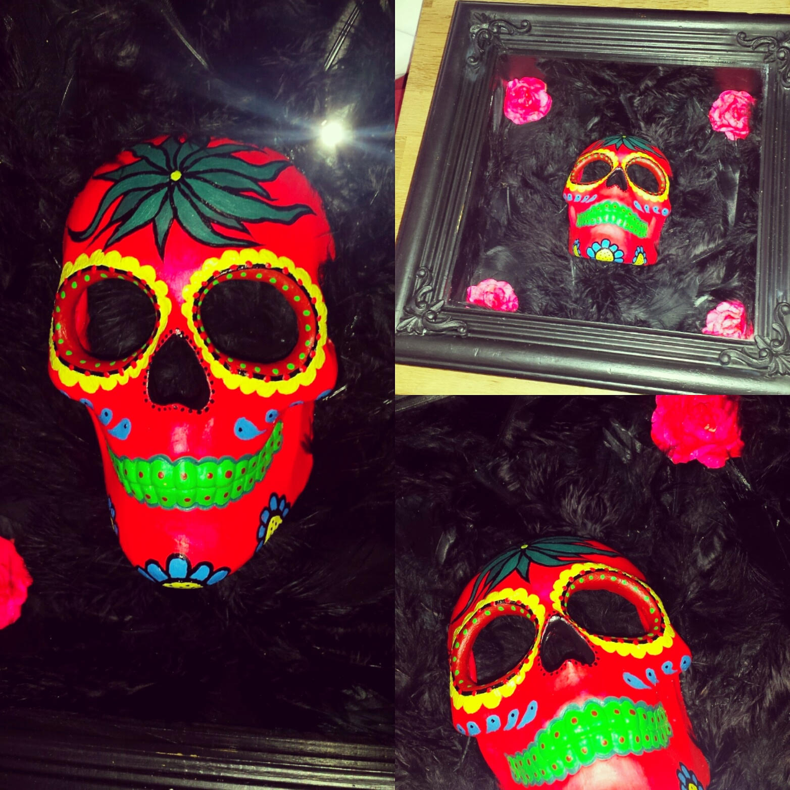 Pink featherbed sugar skull