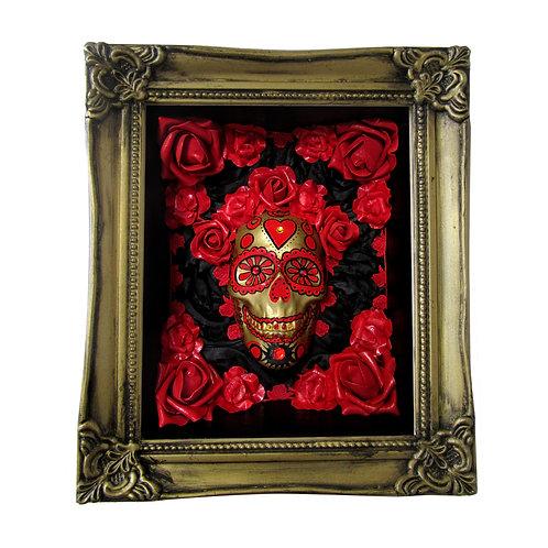 Calavera Box Art - Red and Black