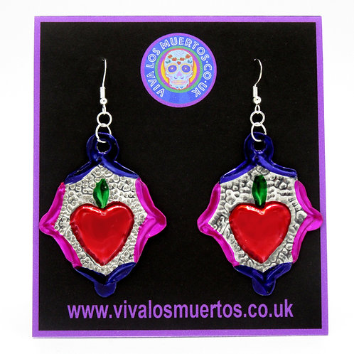 Mexican Tin Sacred Heart Earrings pink/purple