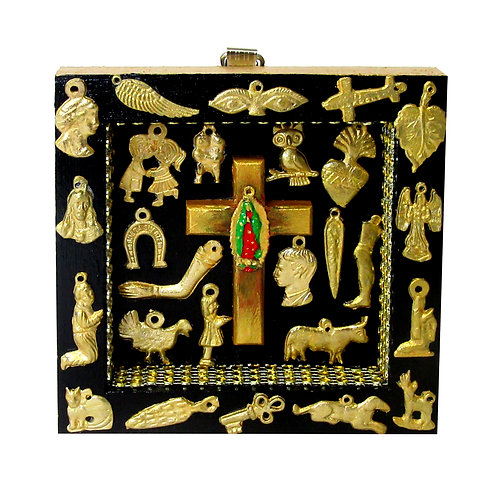 Our Lady of Guadalupe Cross Milagro Box gold/black