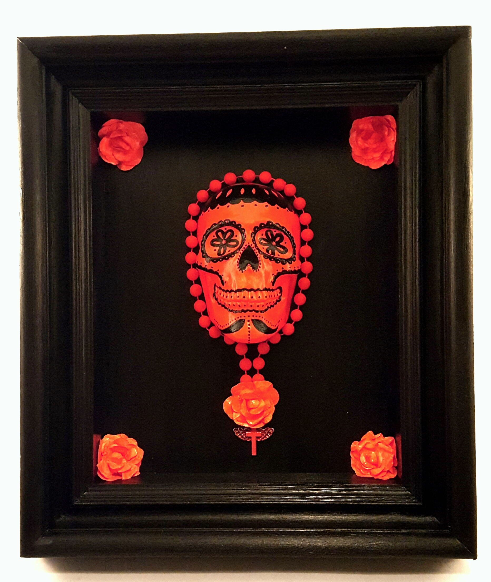 Fluorescent orange Sugar skull with metal medallion