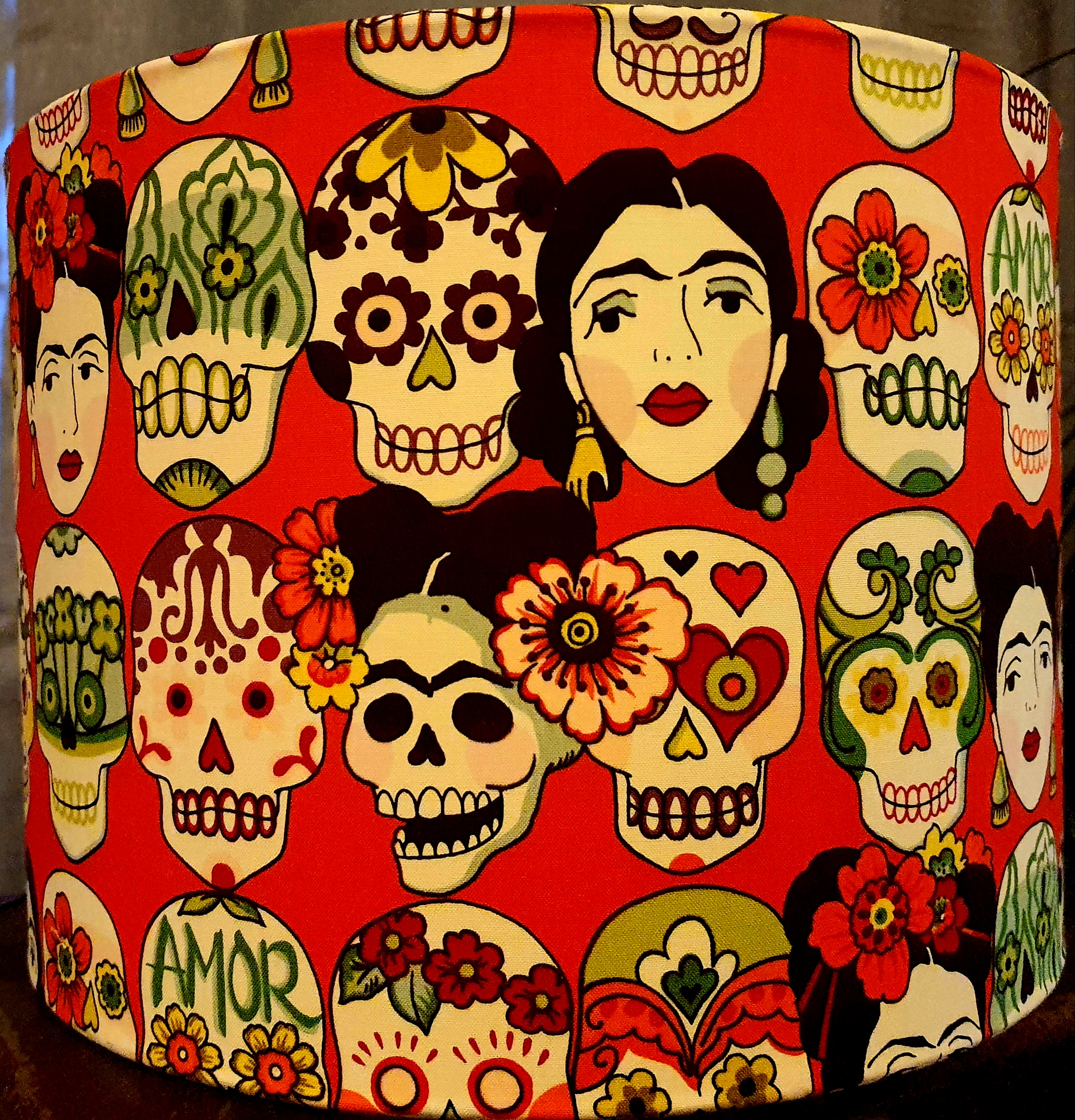 Frida and Calaveras (orange backing)