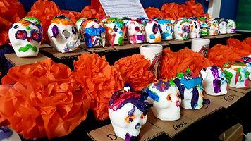 Sugar skulls on the ofrenda.jpg