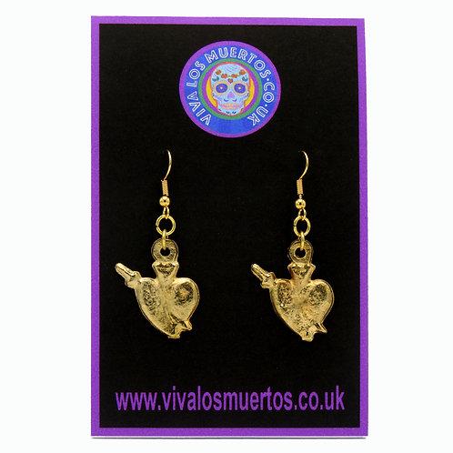 Heart Dagger Earrings-Costume Jewellery