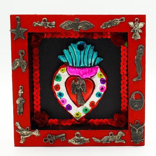Tin Sacred Heart Milagro Box