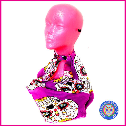 Sugar skull Scarf-Purple