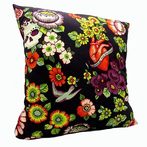 Floral Heart Skull Cushion