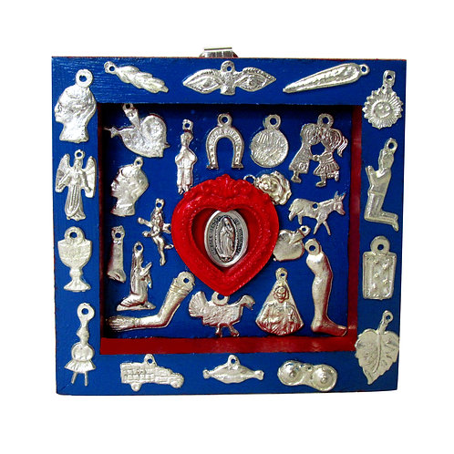 Our Lady of Guadalupe Milagro Box blue/red