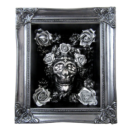 Calavera Box Art - Chrome and Black