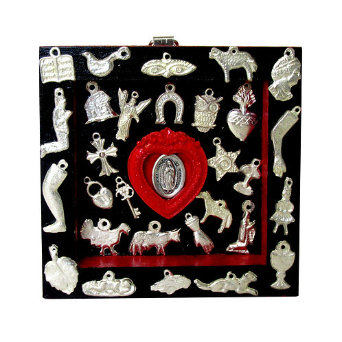 Our Lady of Guadalupe Milagro Box black/red