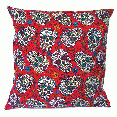 Mexican Sugar Skull Cushion-red