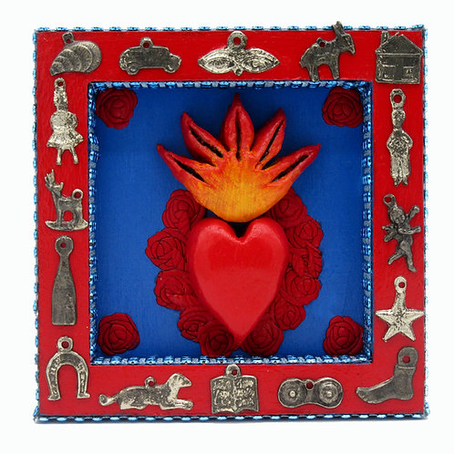 Sacred Heart Milagro Nicho Blue