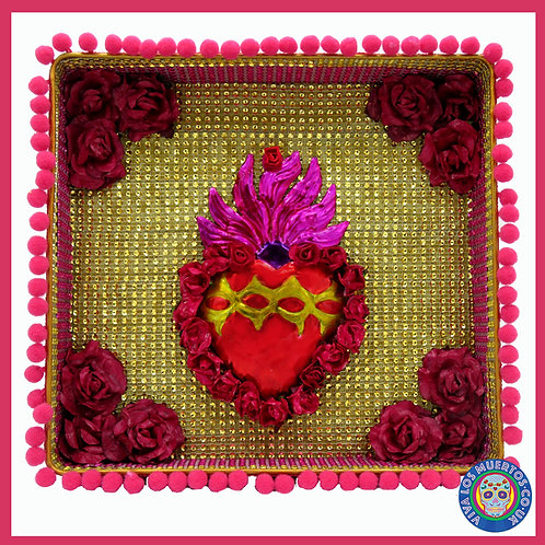 Sacred Heart Gold Tin Nicho