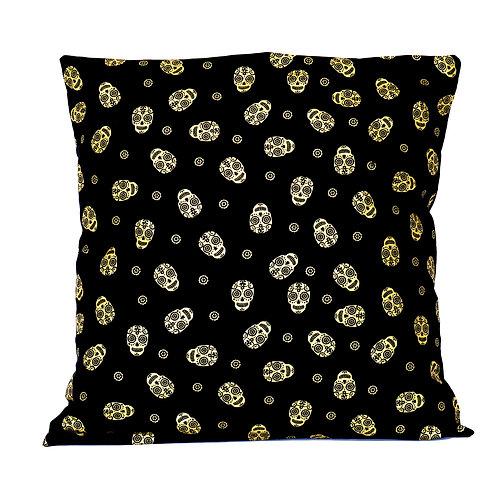 Metallic Gold Sugar Skull Cushion