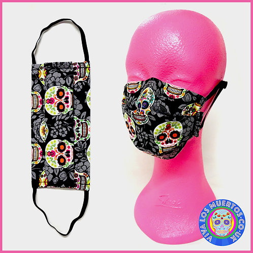 St Peter's Hospice Special Black Floral Sugar Skull Face Covering