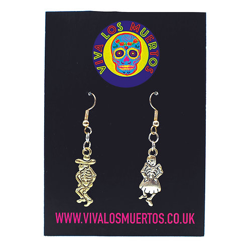 Dancing skeletons earrings - Sterling Silver