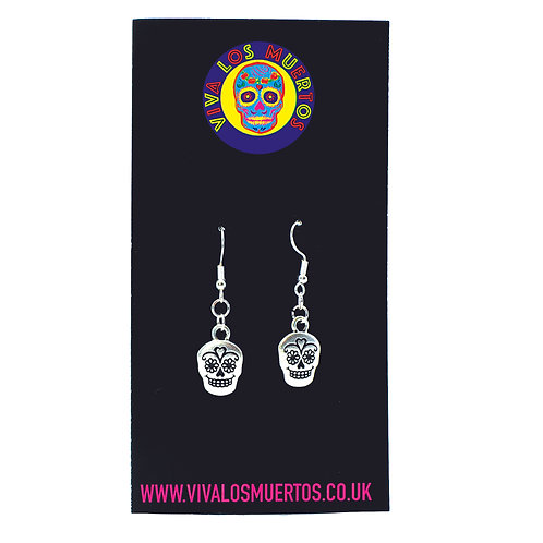 Sugar Skull Earrings - Sterling Silver