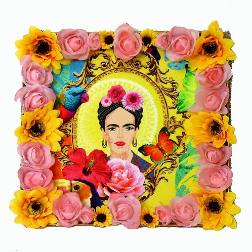 Frida Kahlo Gold Tin Box Art