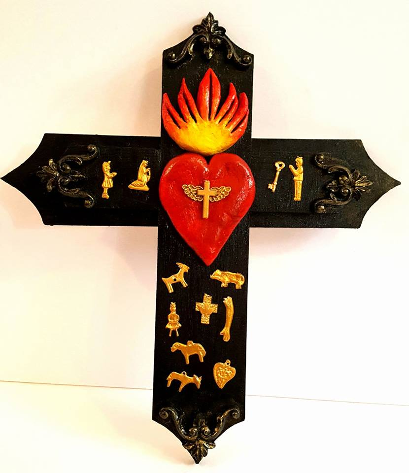 Sacred Heart Milagro cross small