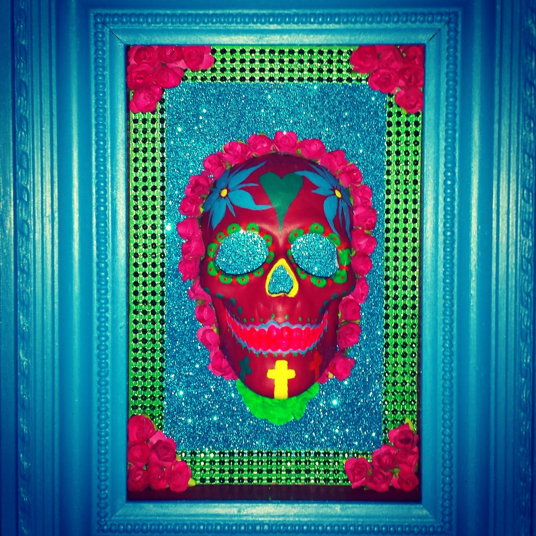 Turquoise boxed sugar skull
