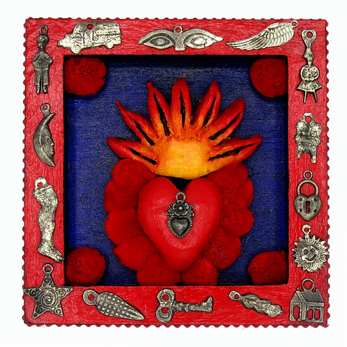 Sacred Heart Milagro Nicho Red Trimmings