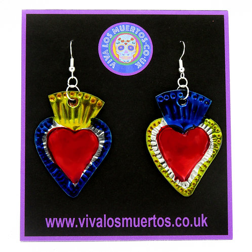 Mexican Tin Sacred Heart Earrings gold/blue