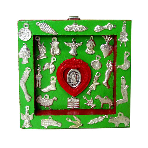 Our Lady of Guadalupe Milagro Box green/red