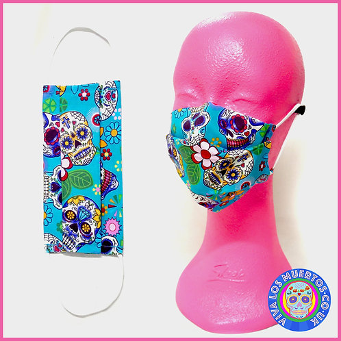 St Peter's Hospice Special Turquoise Floral Sugar Skull Face Covering