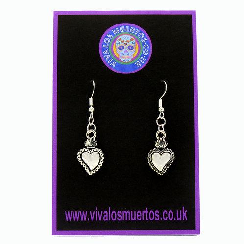 Sacred Heart Earrings - Sterling Silver