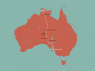 The Ghan extension Map - 2023 solar eclipse tour