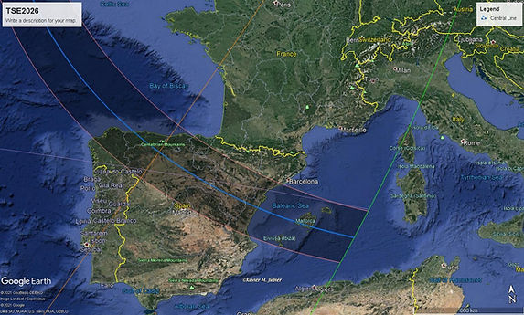 Total Solar Eclipse 2026 Track Map Spain