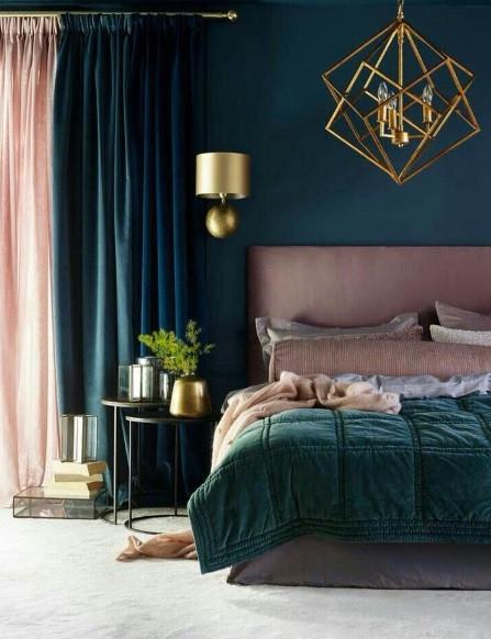Maison Courtieu Chambre à Coucher Vert Bleu Or Rideaux