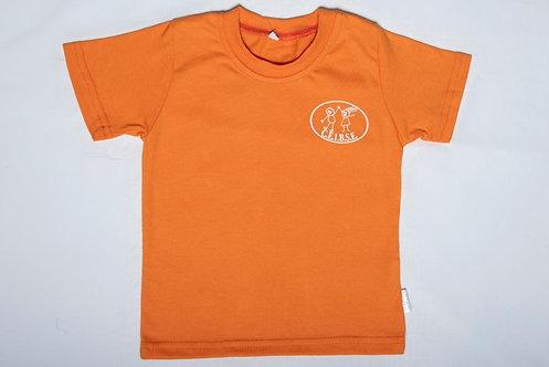 Remera manga corta color anaranjado con logo