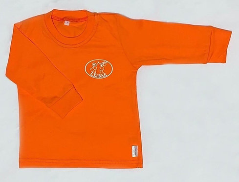 Remera manga larga color anaranjado con logo