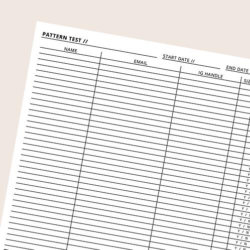 Pattern Tester Sheet