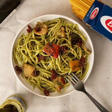 Linguine Pesto Genovese with Grilled Vegetable