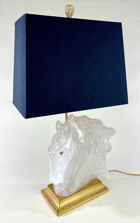 Clear Quartz Horse Head Lamp